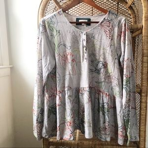 Anthropologie NWT Meadow Rue Grey Floral Henley✨